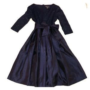 Navy blue formal dress.